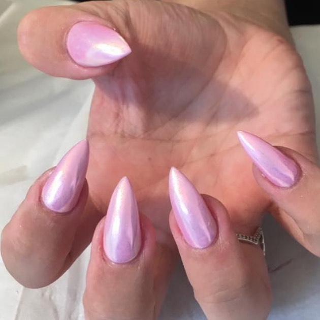 Rose colored pink chrome nails