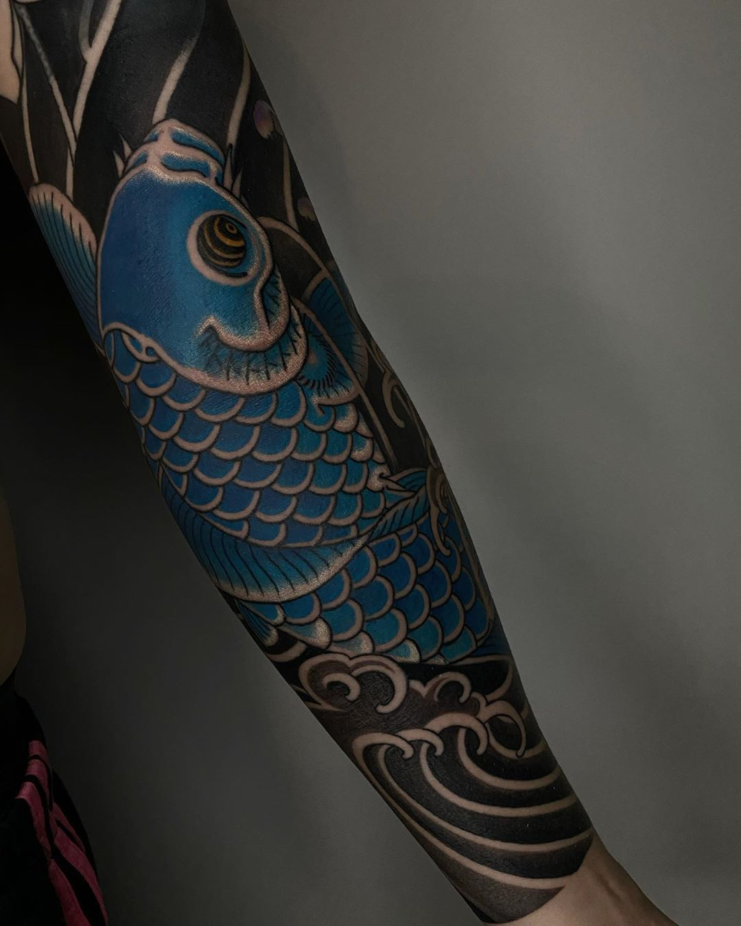 Blue Koi Fish Japanese Tattoo Sleeve