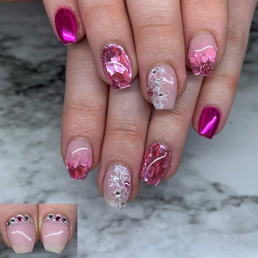 Floral pink chrome nails