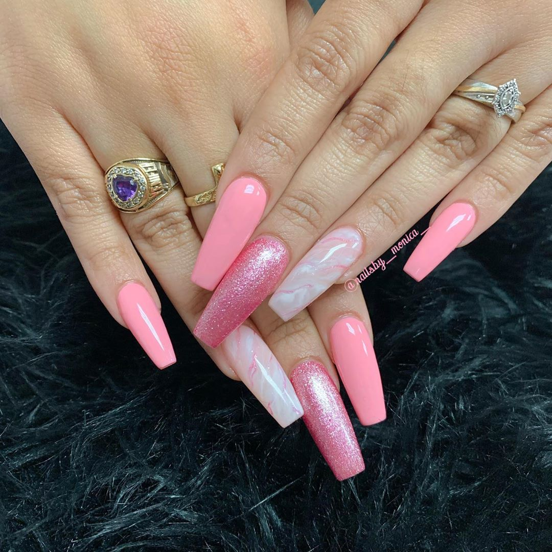 Glittery pink coffin nail designs