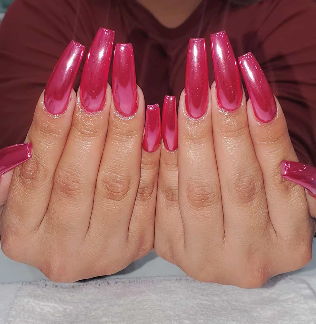 Ballerina inspired pink chrome nails