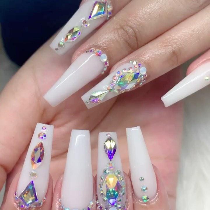 White coffin nail designs