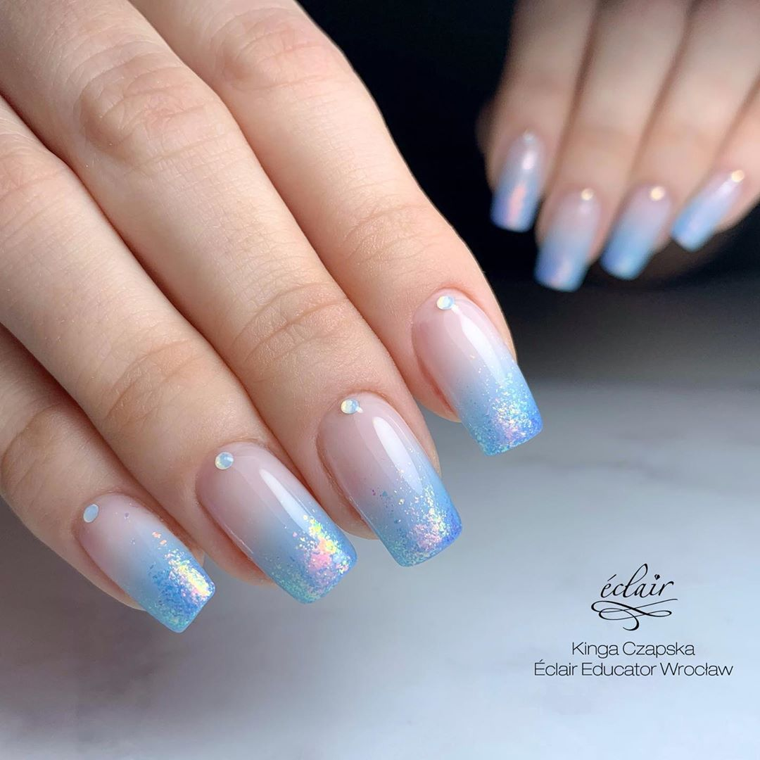 Shimmer Blue Ombre Nail designs