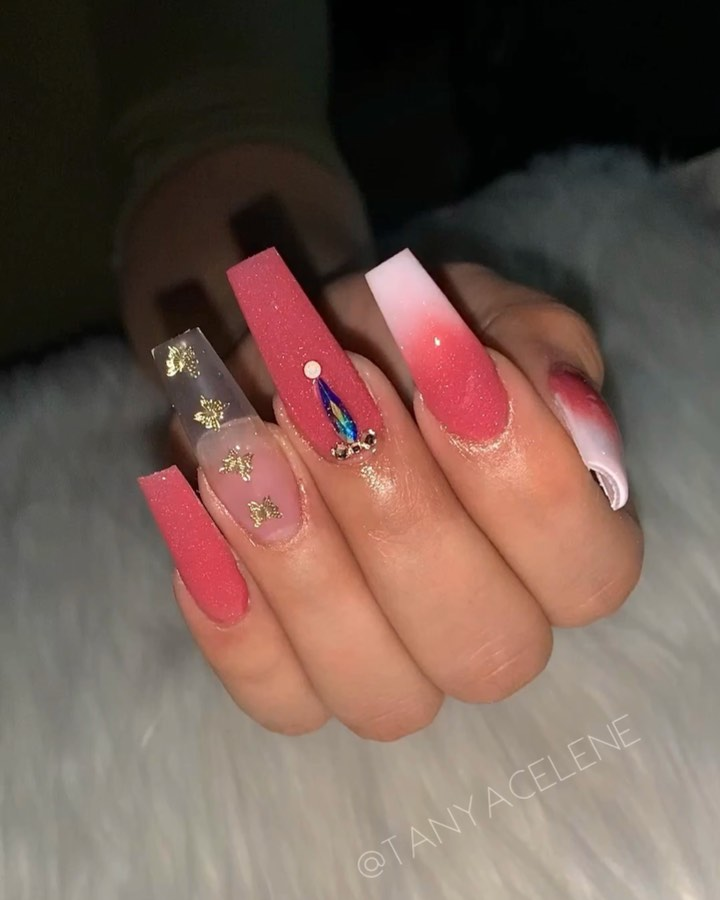 Pink and red coffin nail designs