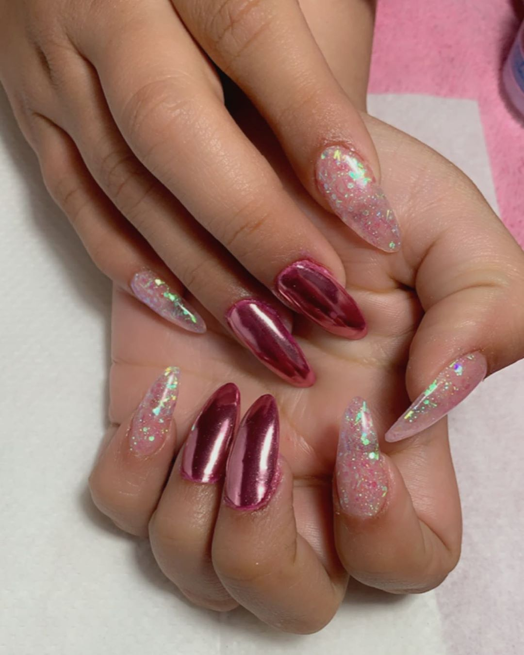 Clear pink chrome nails