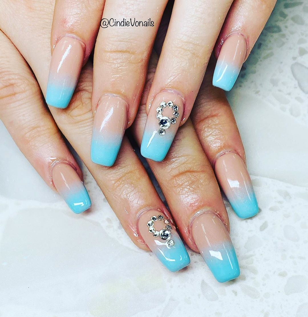Blue orchid Ombre Nail designs