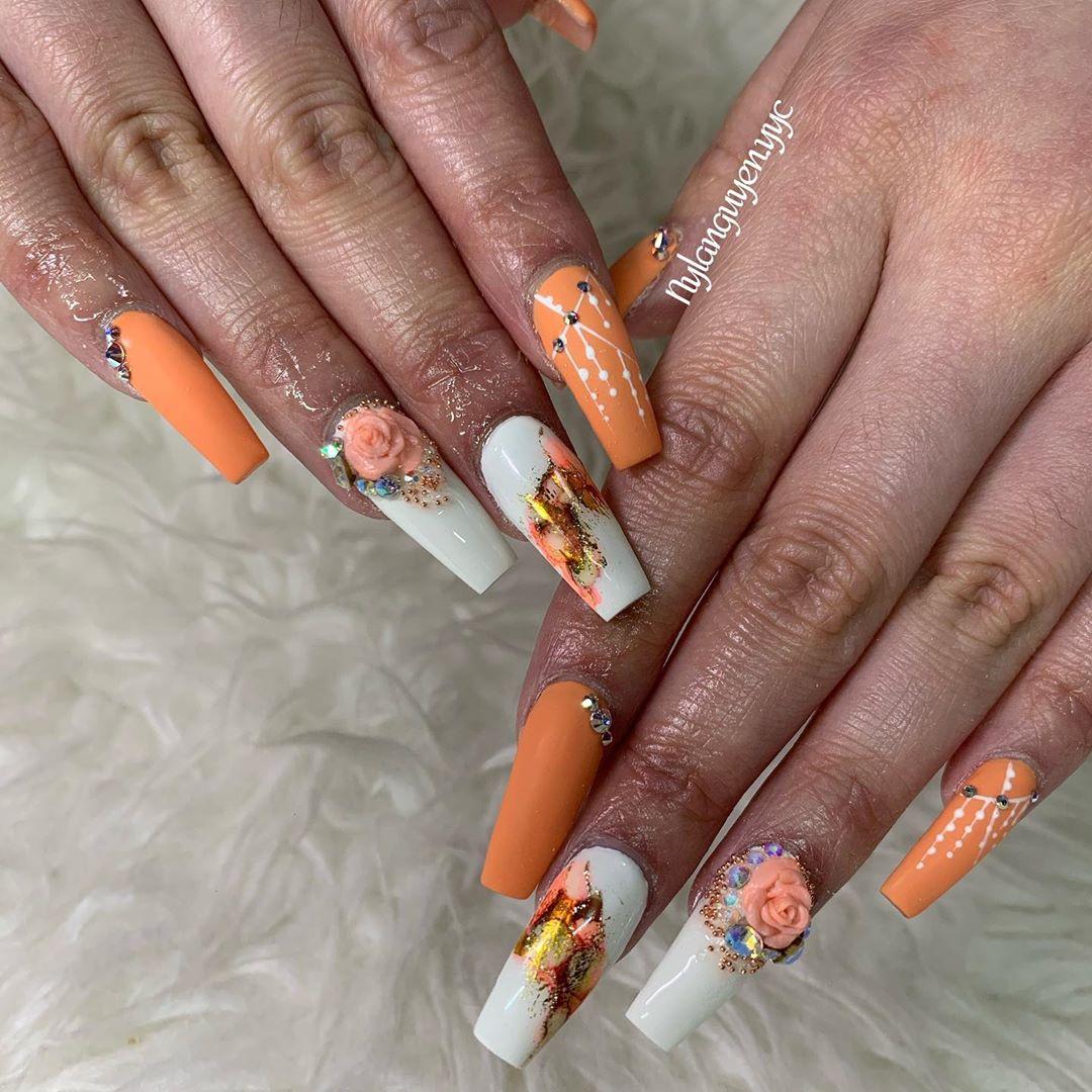 Orange Vintage coffin nail designs
