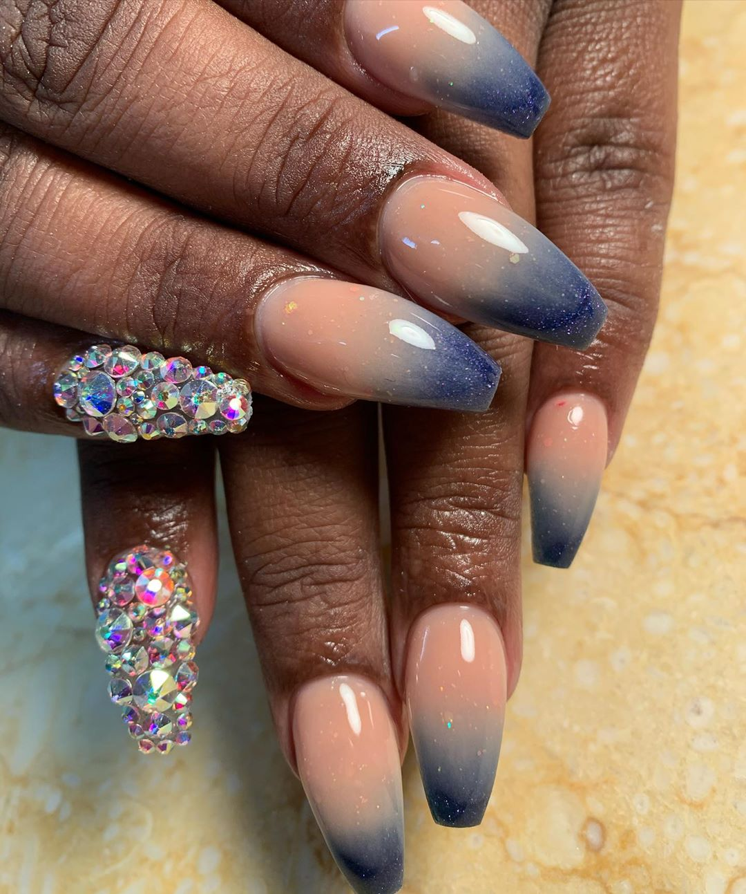 Navy on Nude Ombre Nail designs