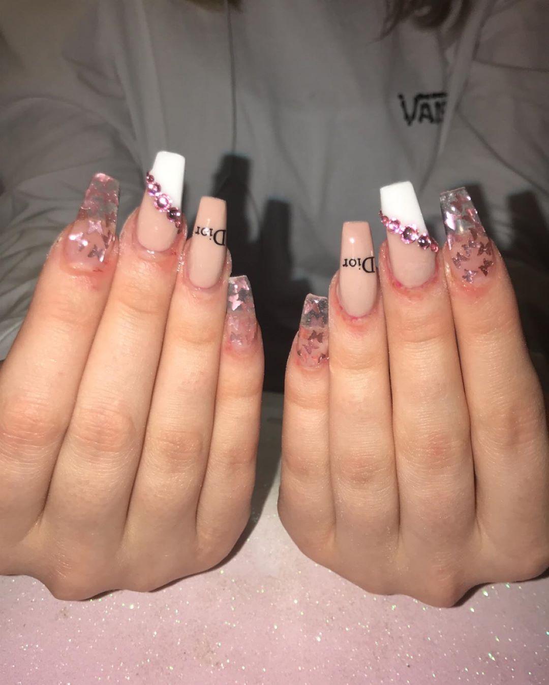 Christian Dior coffin nail designs