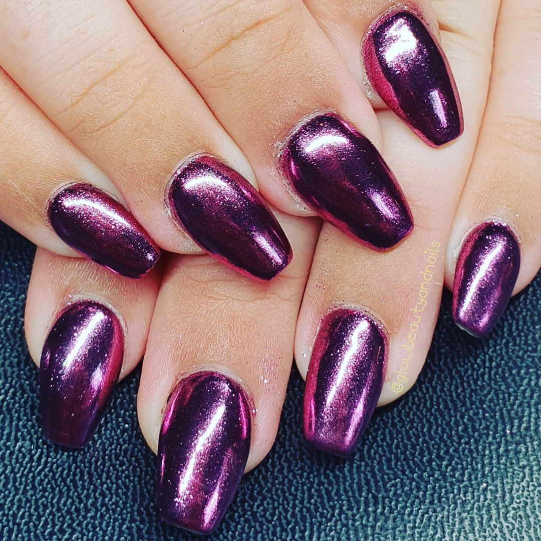 Dark Pink chrome nails