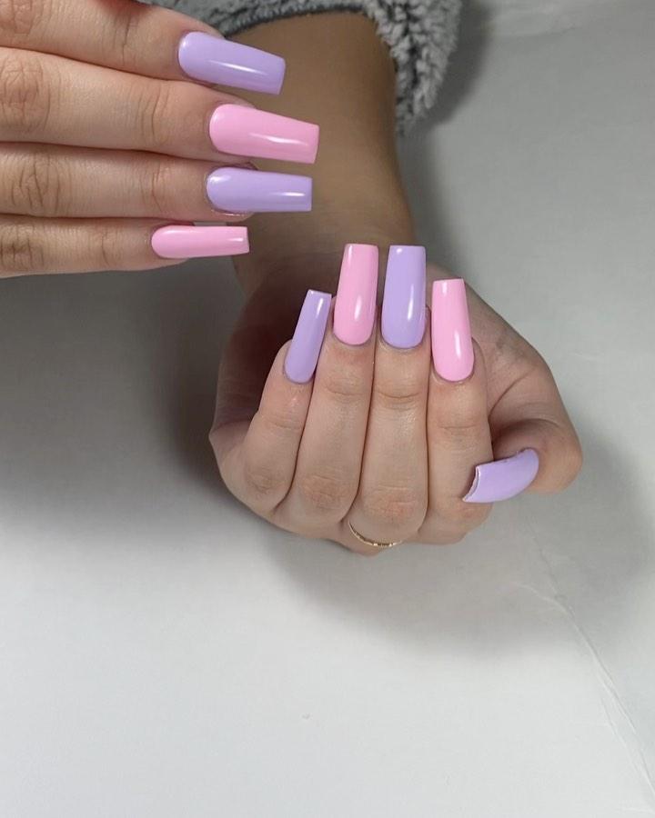Pastel coffin nail designs