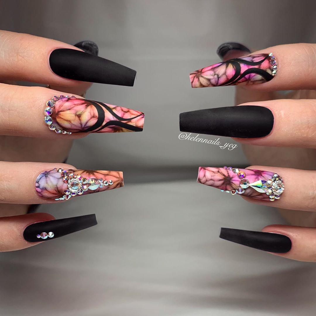 Floral coffin nail designs