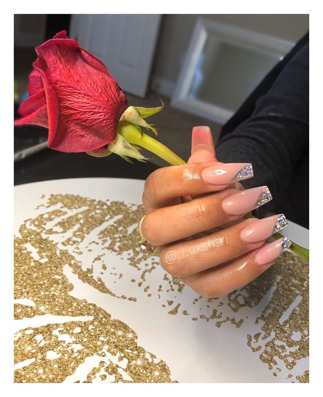 Pink and nude coffin nail designs