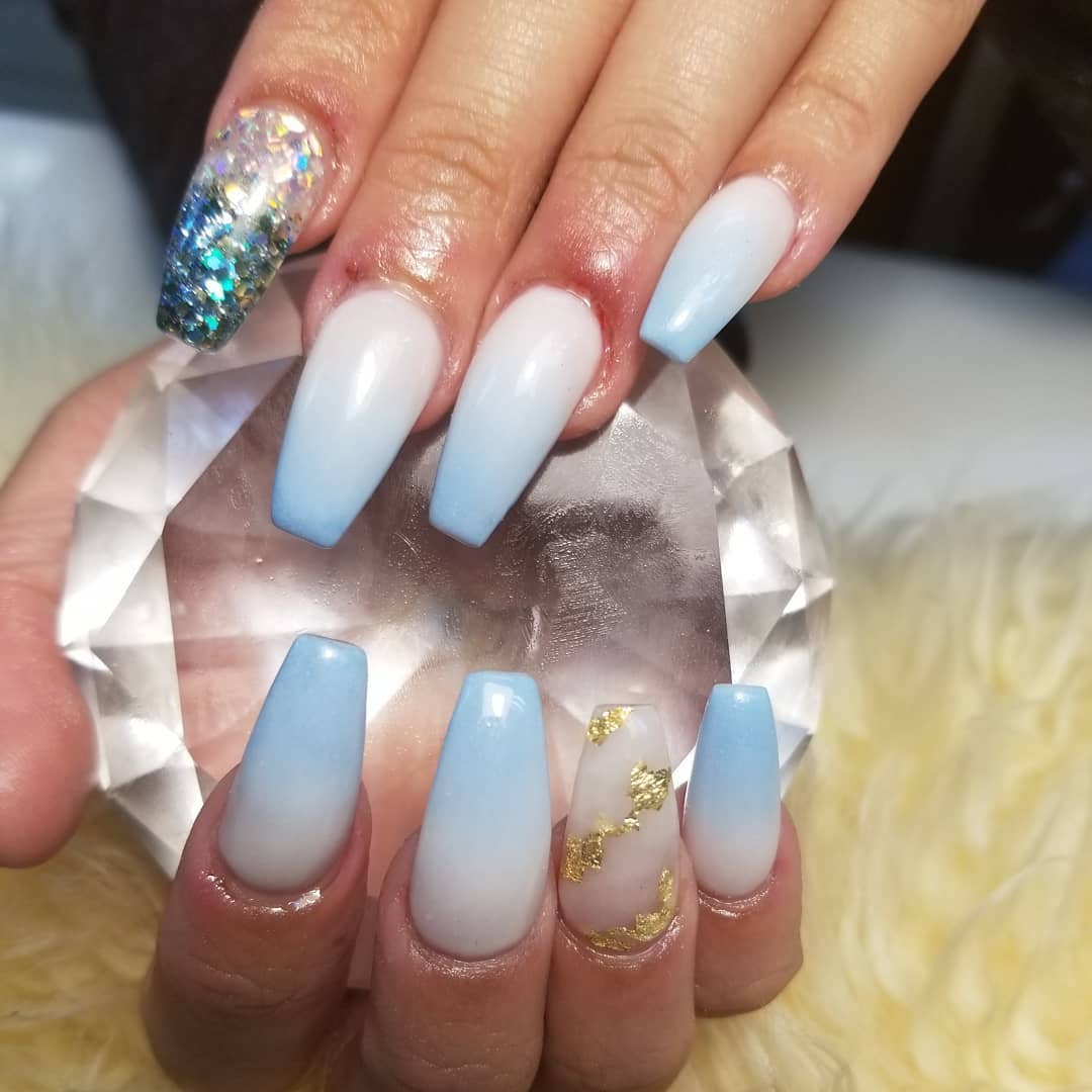 Light Blue Ombre Nails with Foil