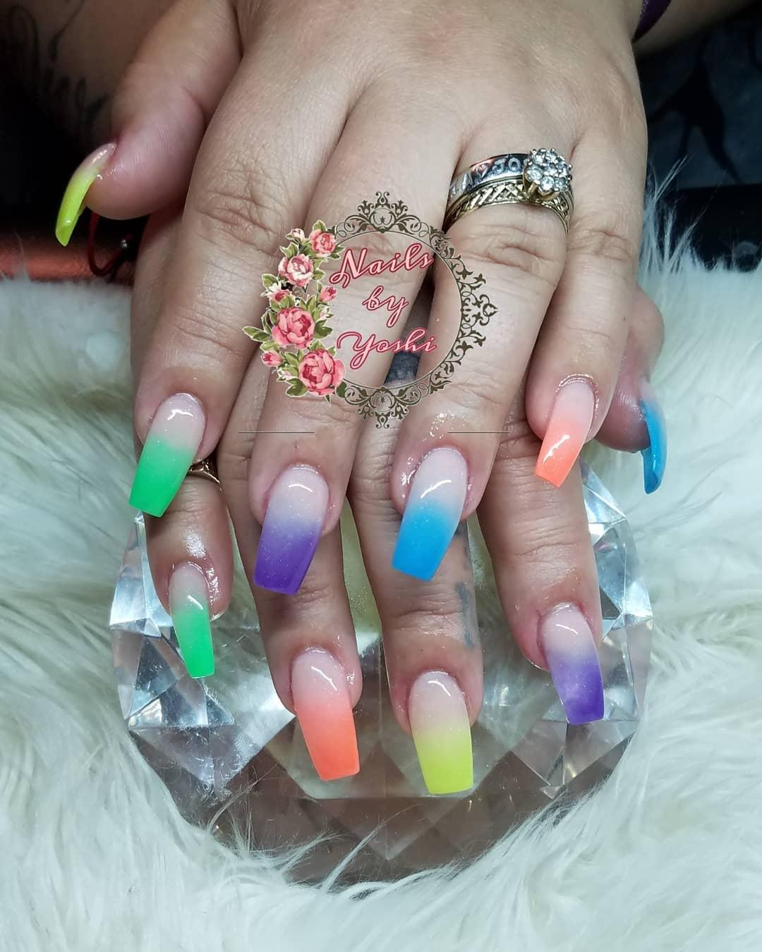 Multicolor Ombre Nail designs