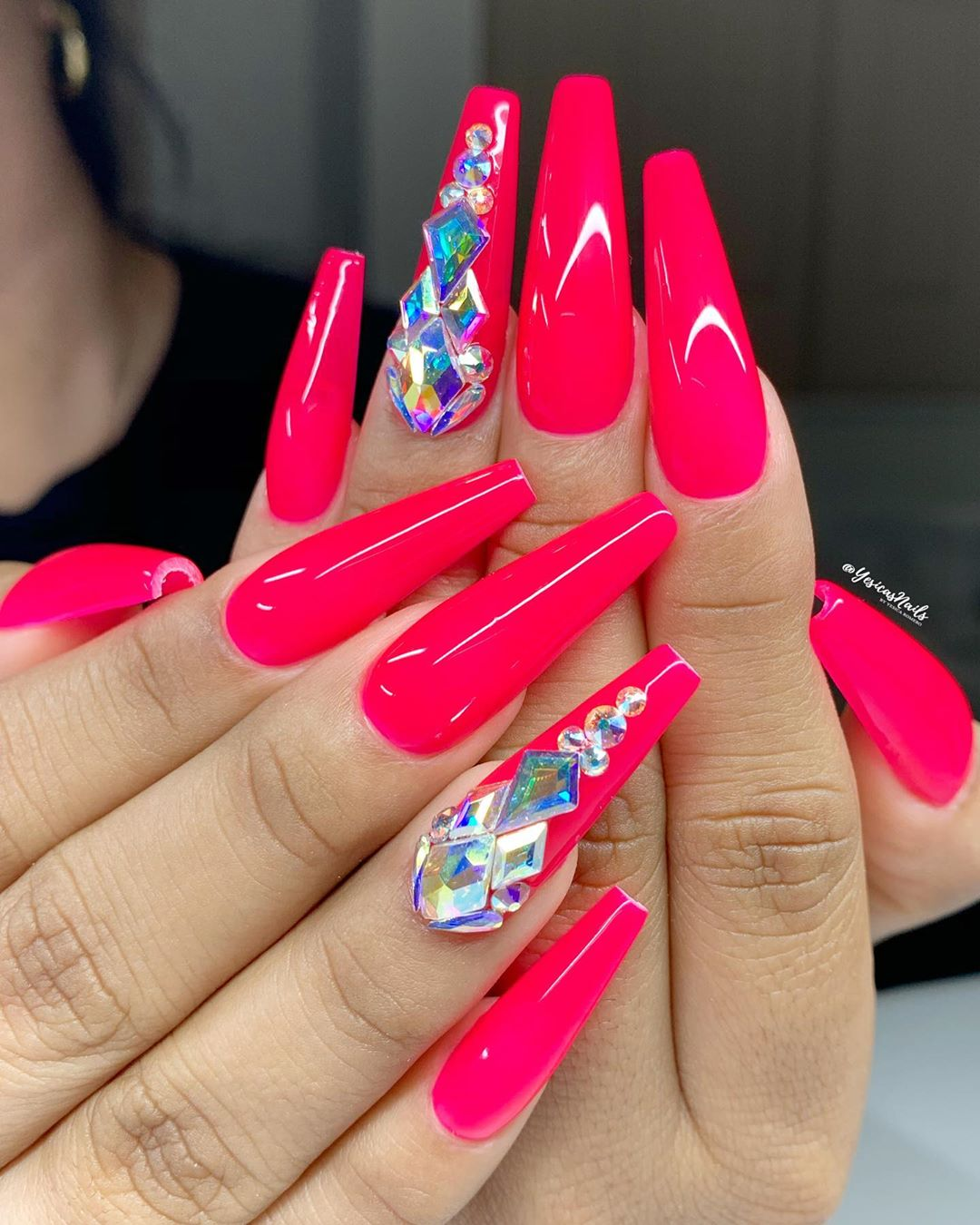 Hot pink coffin nail designs