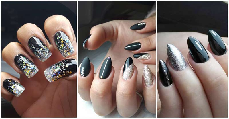Black and Silver Nails