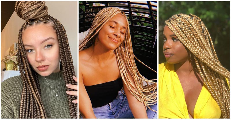 Blonde Box Braid Hairstyles