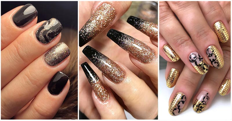 three looks of gold and black nails featured