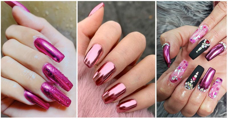 3 styles of pink chrome nails