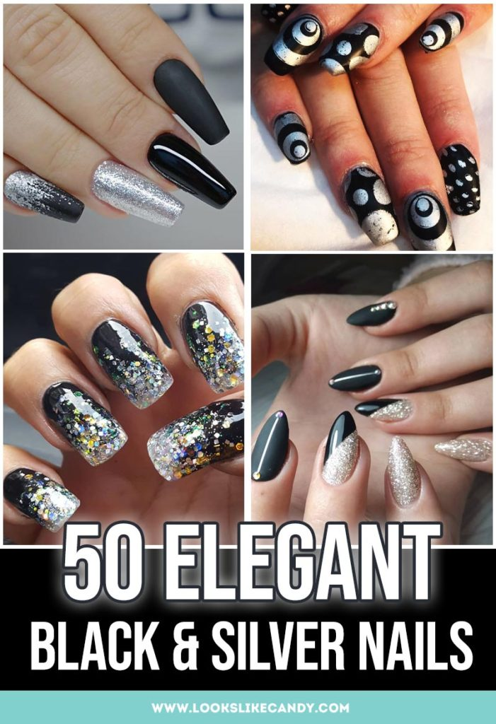 Here are the best black & silver nail ideas that are trending now! Get inspired by these black and silver nails designs.