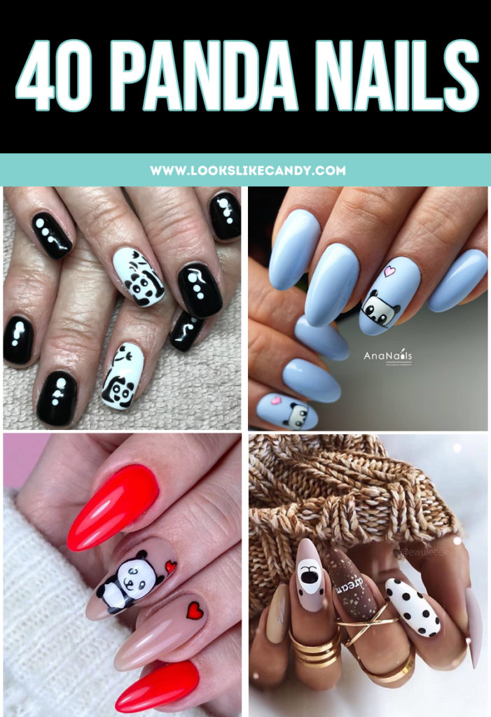 Panda lovers, unite! Or, at least celebrate your affection for these gentle giants with these panda nails. #pandanails #naildesign #pandanailart