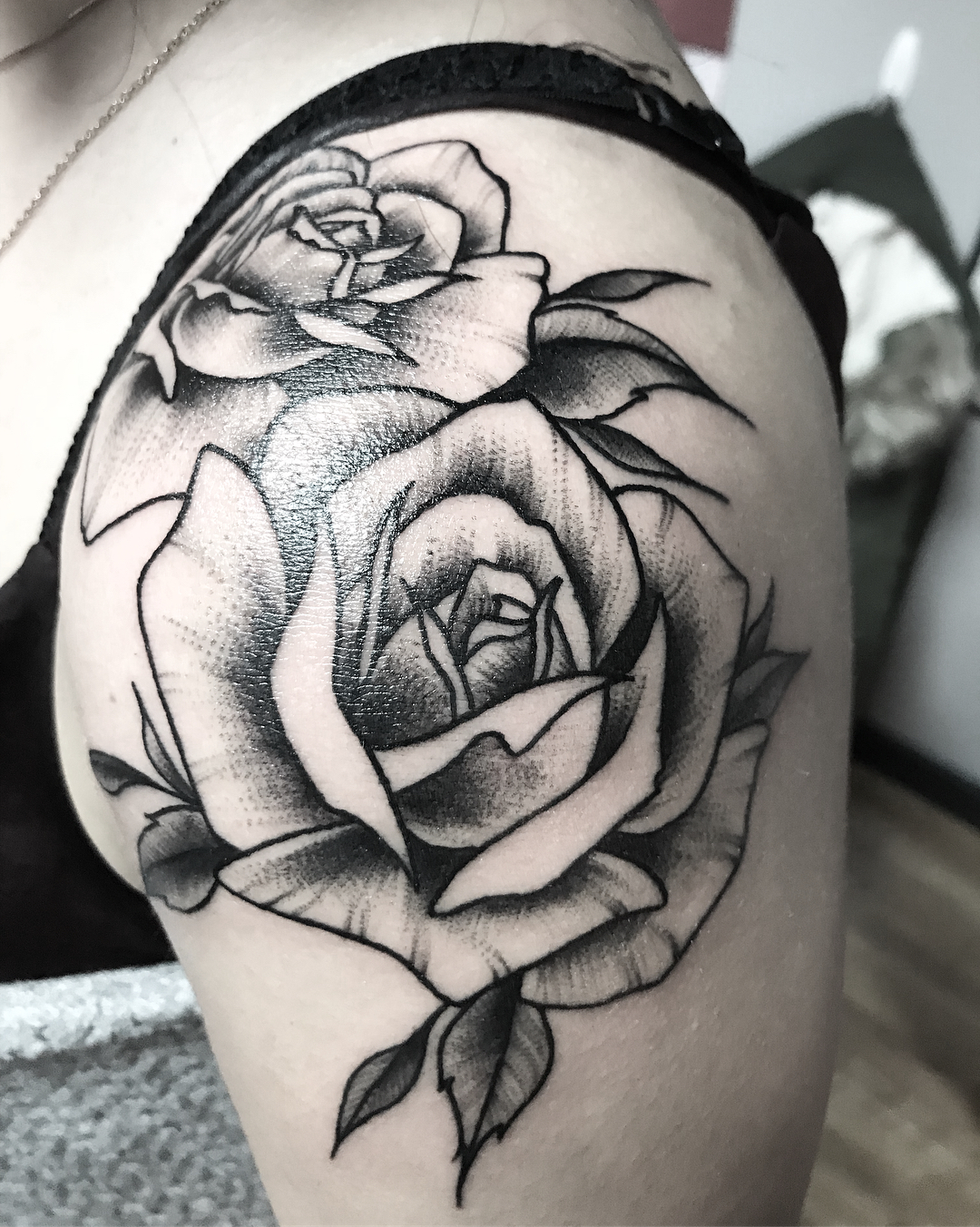 Image of rose shoulder tattoo