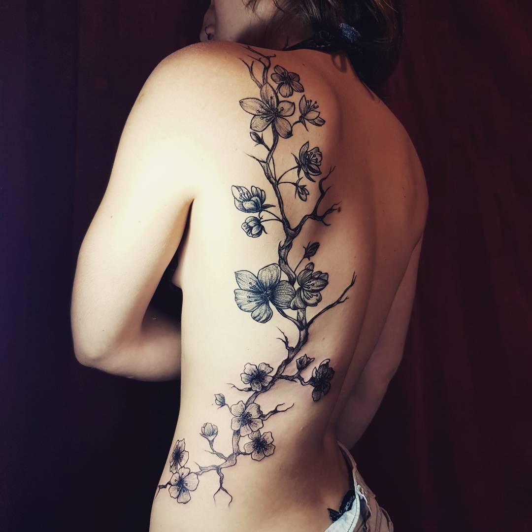 Full Japanese Sakura tattoo on back