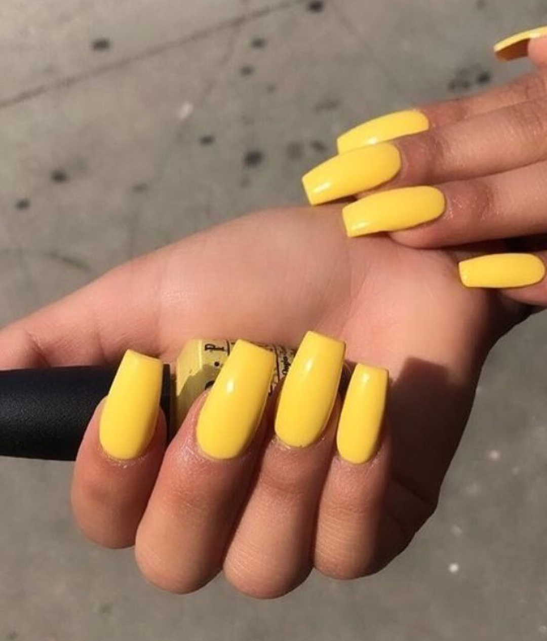 Exotic Birds OPI color on Yellow Acrylic Nails