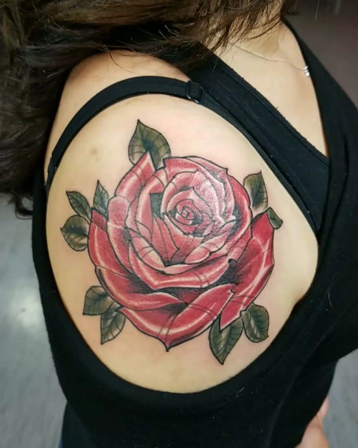 Big rose shoulder tattoo image