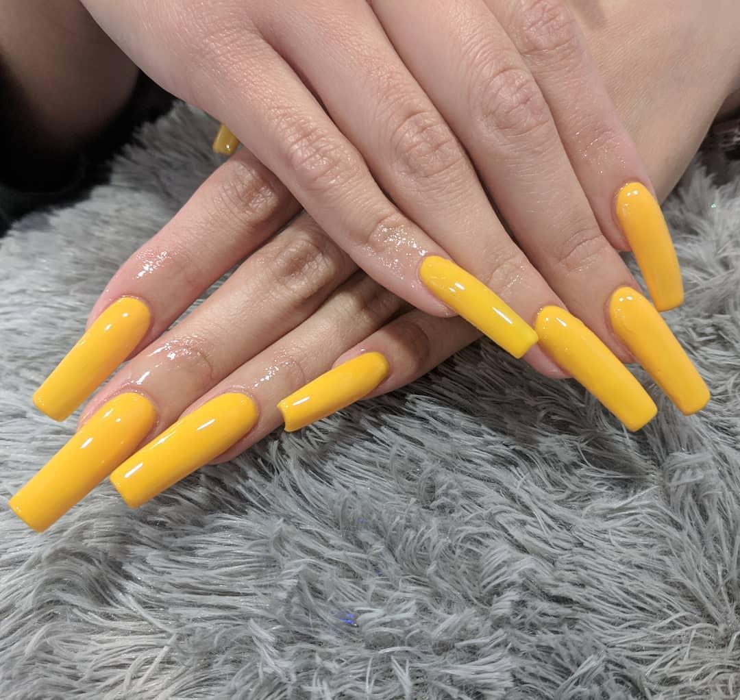 Long Narrow Yellow Acrylic Nails