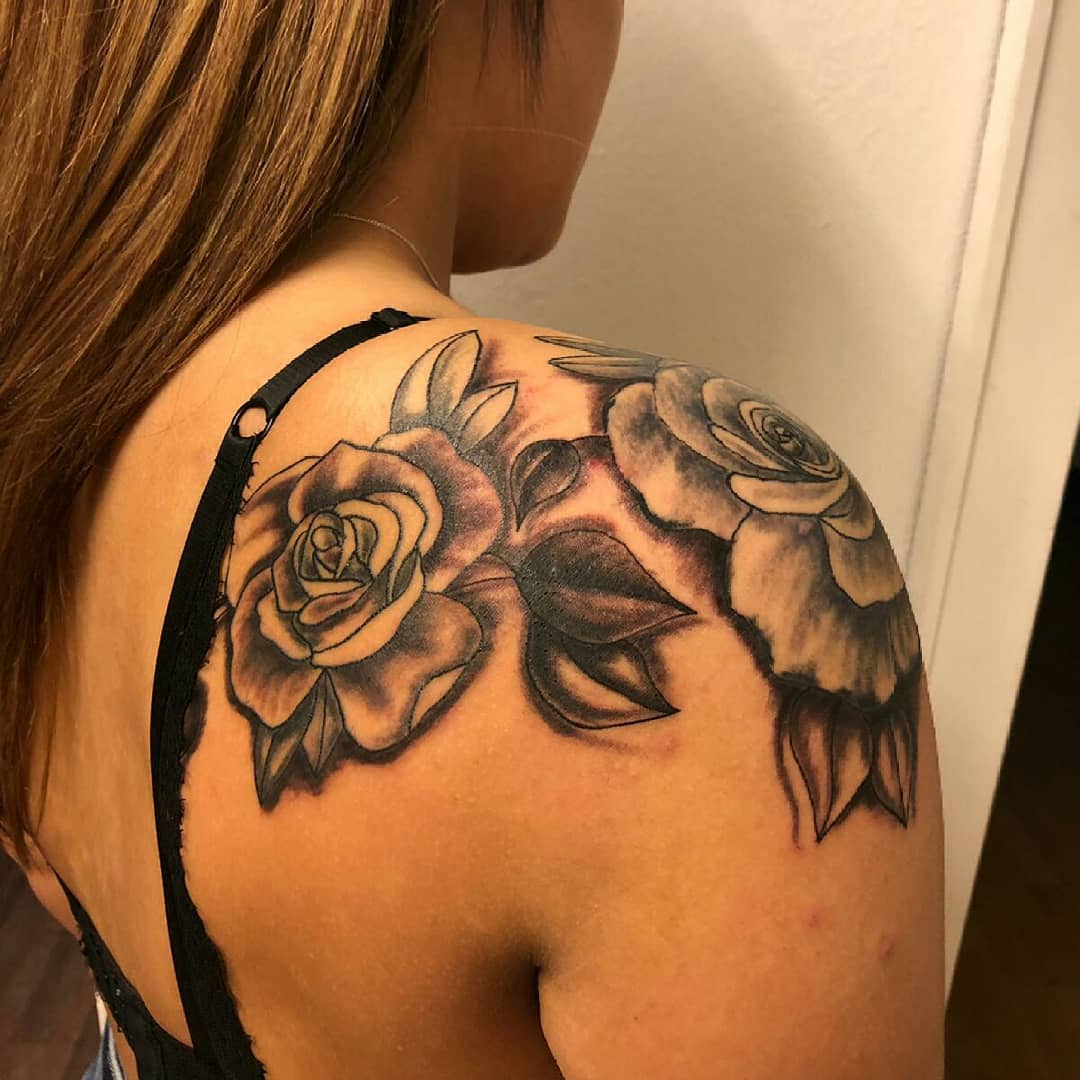 Simple rose shoulder tattoo