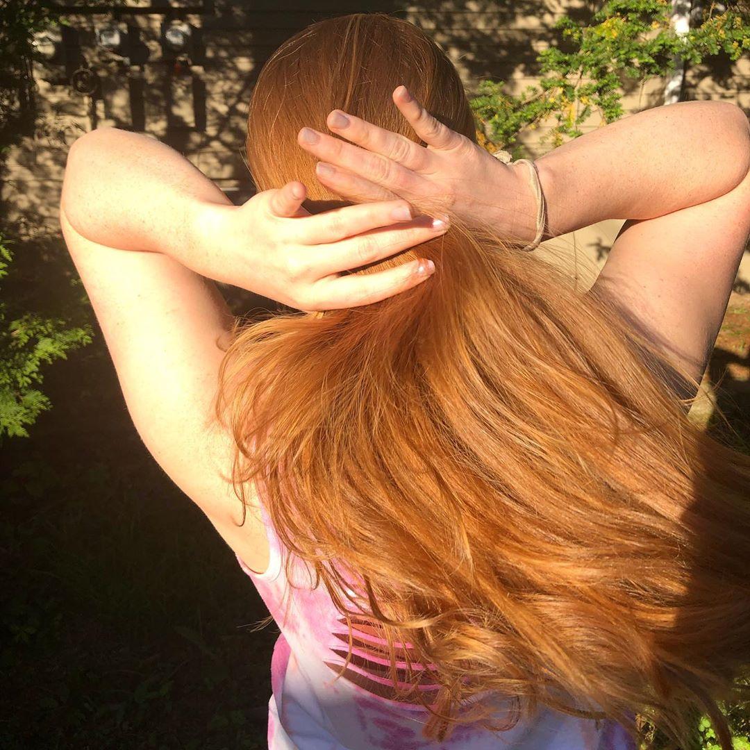 Strawberry blonde highlight in sunshine