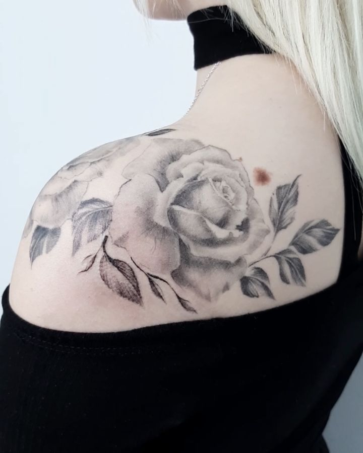 Painted rose shoulder tattoo image