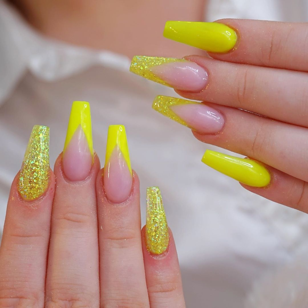 Glitter wing tips on Yellow Acrylic Nails