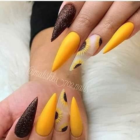 Sunflower Sugar Yellow Acrylic Nails