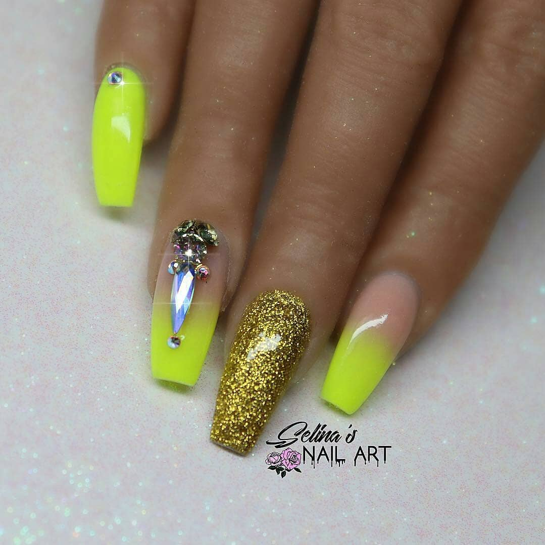 Yellow Acrylic Nails with Gold and Diamonds