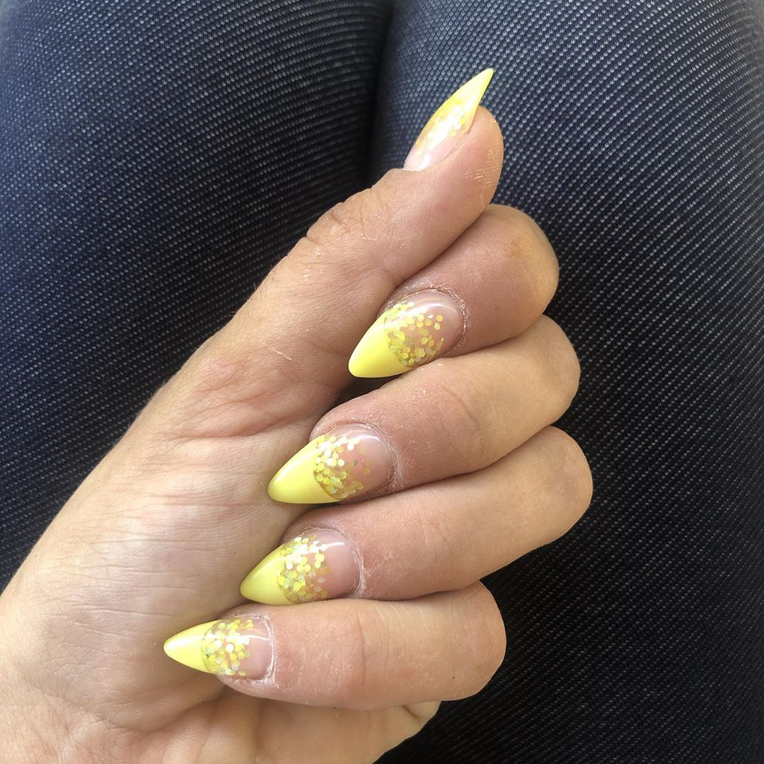 Yellow Acrylic Nails Layered Ombre