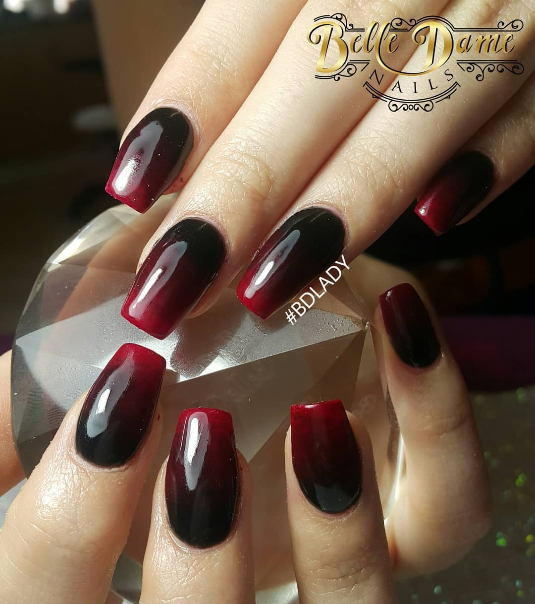 Best Red & Black Ombre Nails