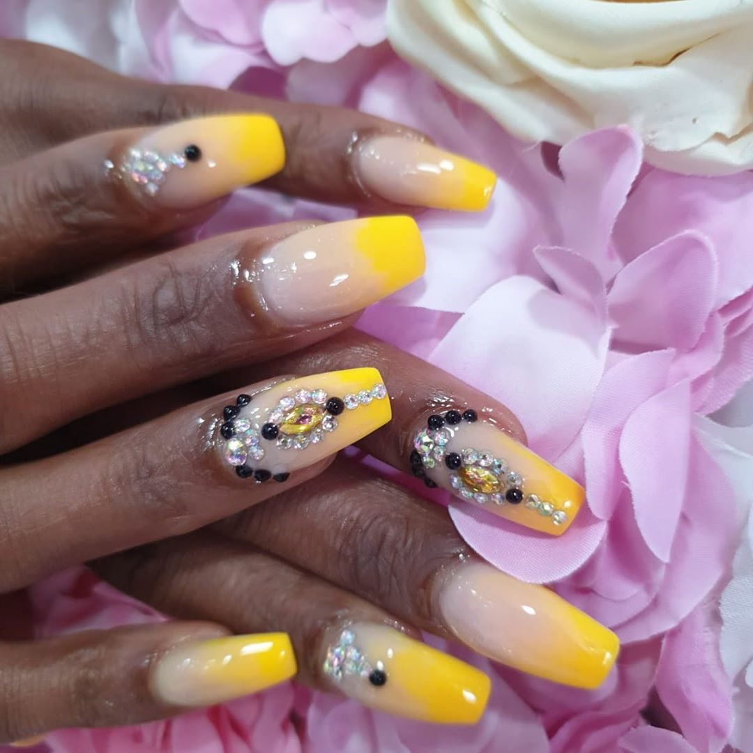 Yellow Acrylic Nails with Black Pearls