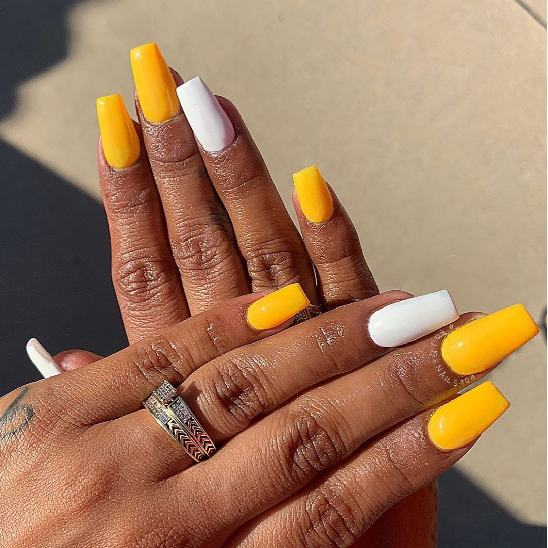 Yellow Acrylic Nails with White Accents