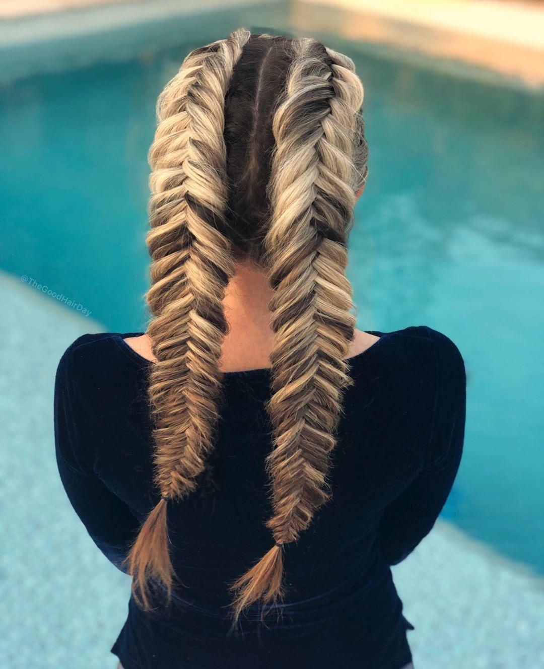 Two Tone Wide Dutch Fishtail Braid Hairstyles