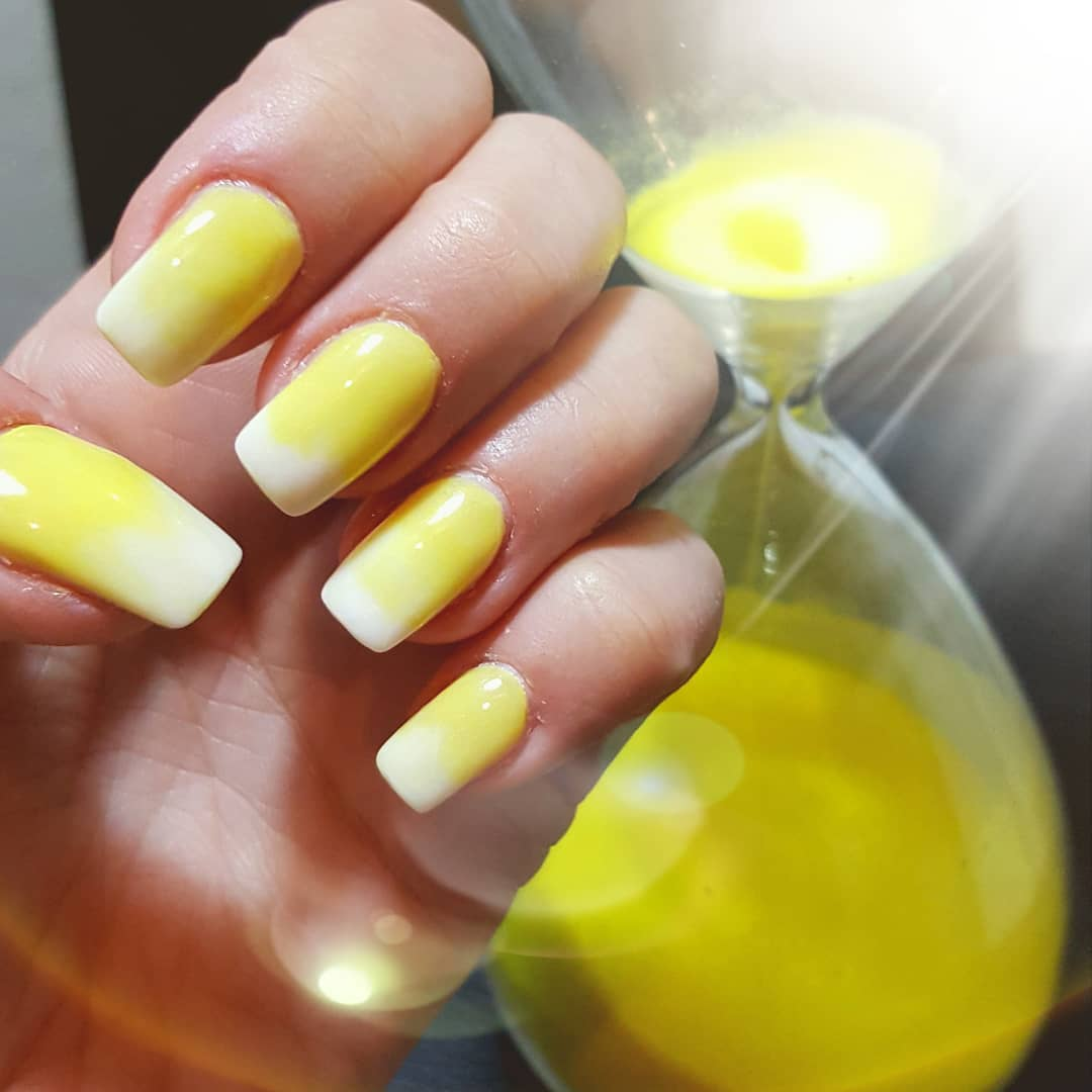 Yellow Acrylic Nails with White Tips