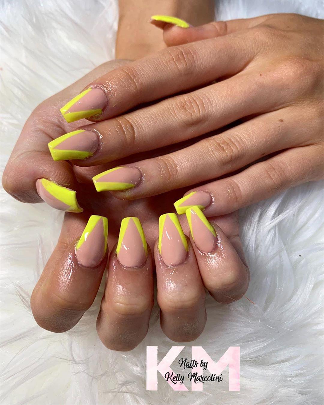 Yellow Acrylic Nails with V-shaped tips