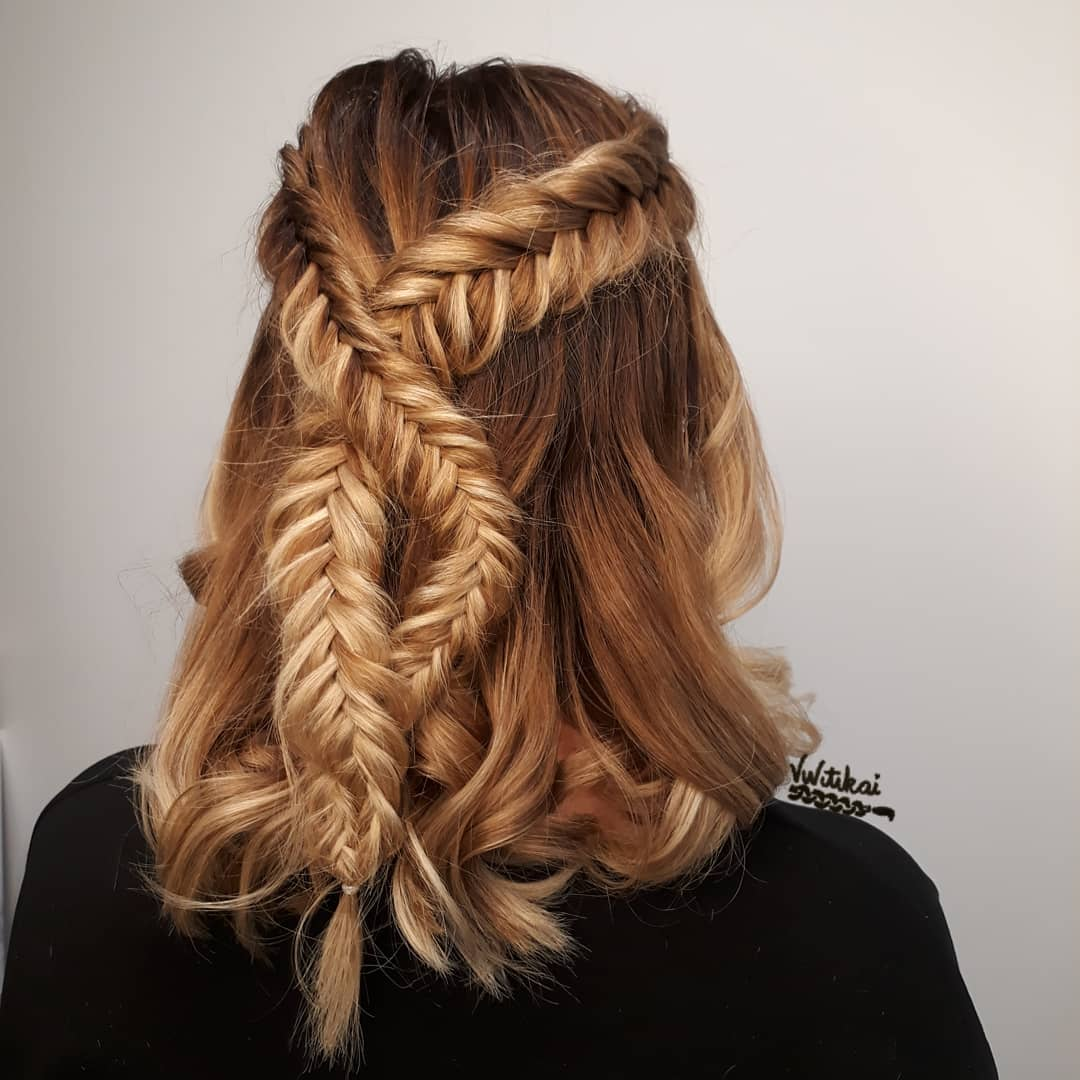 Double Criss Cross Fishtail Braid Hairstyles