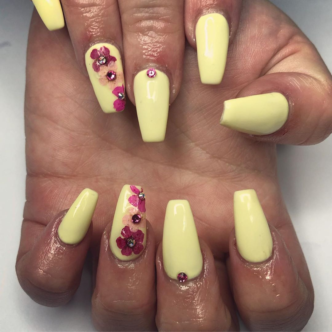 Yellow Acrylic Nails with Purple Flowers
