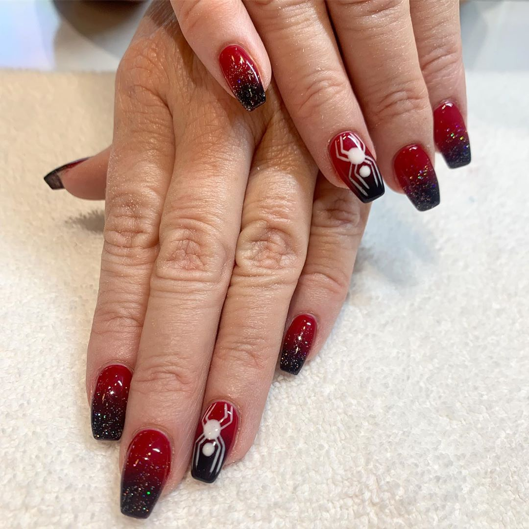 Image of Red & Black Ombre Nails technique