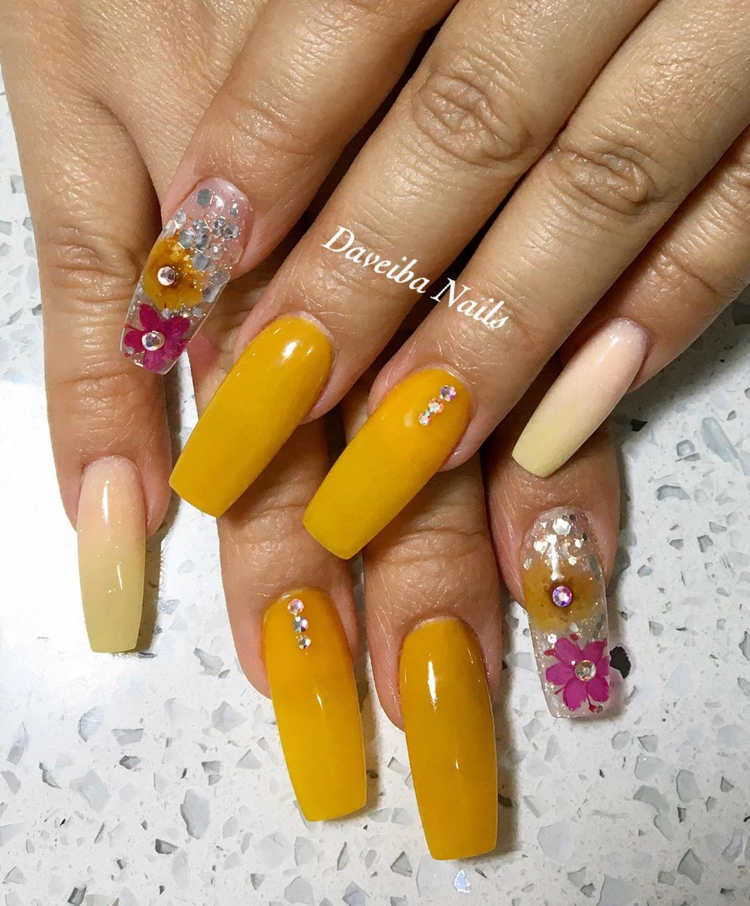 Flower Yellow Acrylic Nails