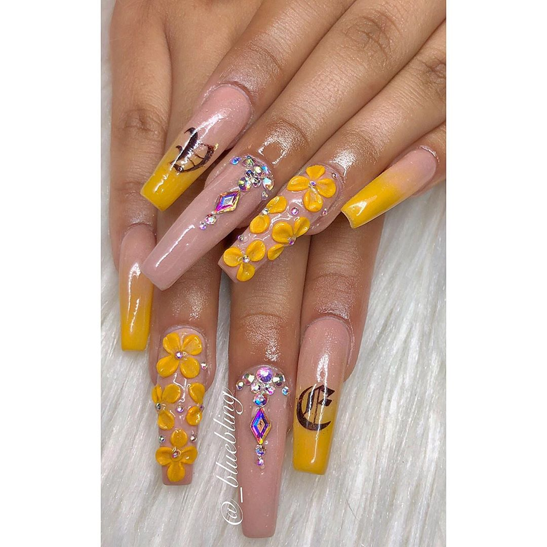 Floral Yellow Acrylic Nails