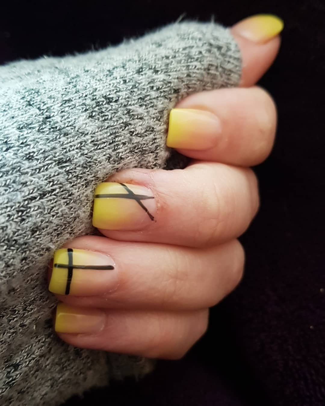 Art Deco inspired Yellow Acrylic Nails